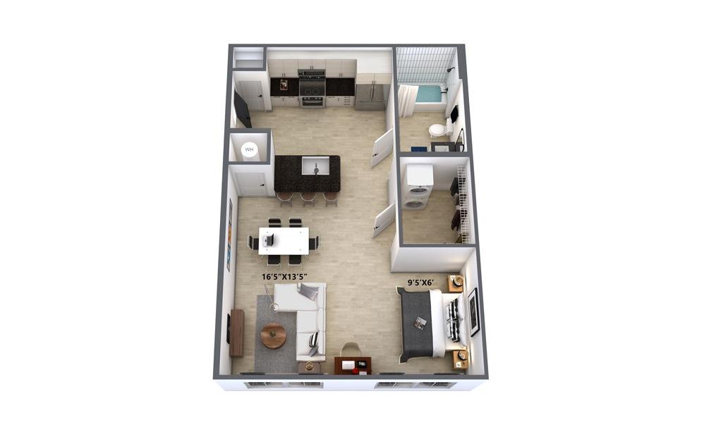A1 Studio 1 Bath Floorplan
