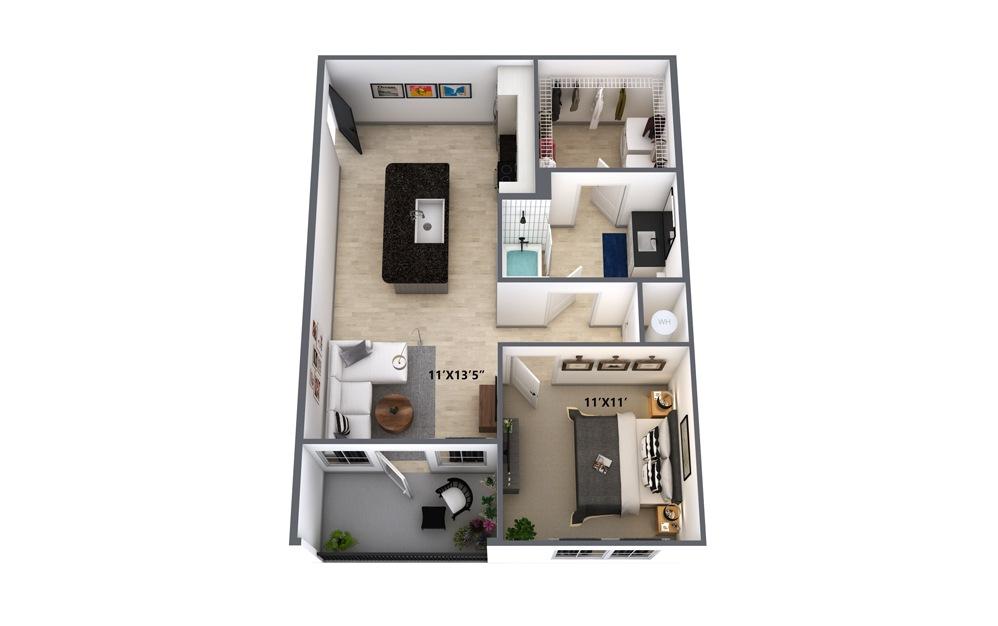 A2HC 1 Bed 1 Bath Floorplan