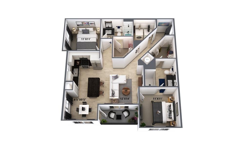 B1 2 Bed 2 Bath Floorplan